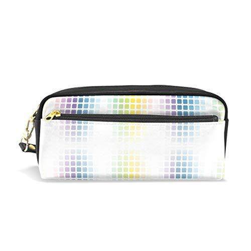 FANTAZIO Stifteetui, Regenbogen-Mosaik-Optik, Make-up-Tasche -