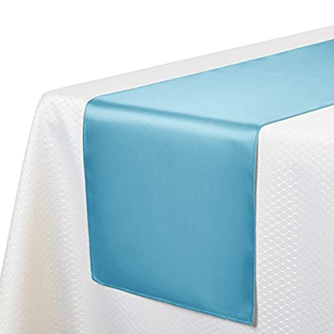 VEEYOO 10 Pieces 30 x 275 cm Satin Table Runners Linens for Wedding Party Banquet Table Top Decoration, Baby