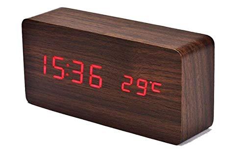 Digitaler Wecker Temperatur Zeit Multifunktions-Wecker Einstellbar Holz Wecker Voice-Konsole Uhr Große Display-Zeit USB-Netzteil Und Batterie ()