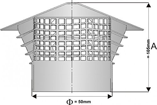 Aération–Accessoire Chapeau–Purgeur de toit Univent DN 50–50mm en tube