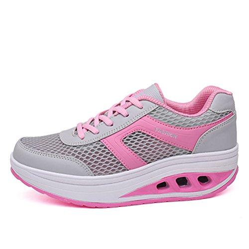 Damen Sommer Gitter Atmungsaktive Schnürsenkel Einfache Kissen Sportliche Outdoor Turnschuhe Schüttelnschuhe Pink