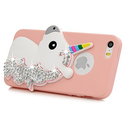 Coque iPhone SE / iPhone 5S / iPhone 5 Mavis's Diary Étui Housse de Protection TPU Silicone Gel Souple Bling Diamant Paillette Sparkle Licorne 3D Bumper Phone Case Cover Protection écran Swag Pour iPh Rose