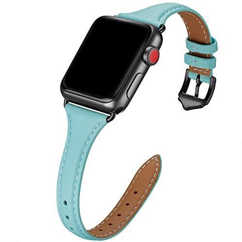 WFEAGL Kompatibel mit Watch Armband 38mm 40mm, Mehrfache Farben Slim Leather Ersatzband mit Edelstahl-Verschluss für Watch Serie 4/3/2/1,Damen, Herren(38mm 40mm,Tiffany Blau+Schwarz Adapter)
