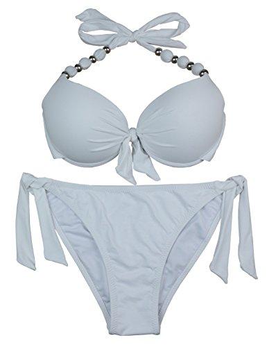 EONAR Damen Seitlich Gebunden Bikini-Sets Abnehmbar Bademode Push-up-Bikinioberteil mit Nackenträger(XXL,White)