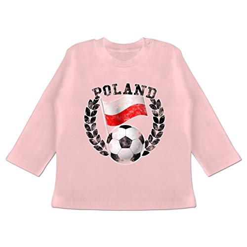 Fußball-Europameisterschaft 2020 - Baby - Poland Flagge & Fußball Vintage - 6-12 Monate - Babyrosa - BZ11 - Baby T-Shirt Langarm