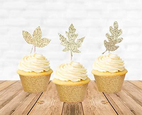 Astra Gourmet 24 Stück Herbstblätter Thanksgiving Glitzer-Cupcake-Topper, Ahornblätter, Thanksgiving Party Dessert Dekorationen, Gold