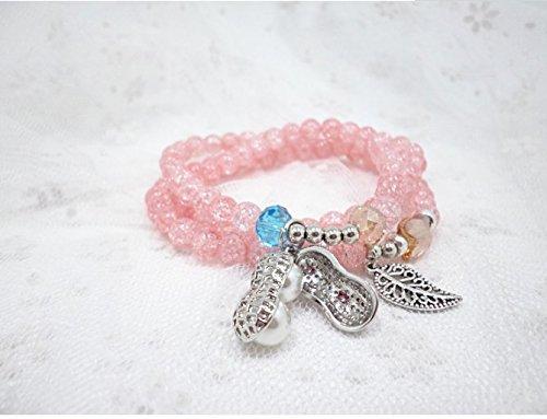 (Yudanwin Halskette Perlen Zubehör Kristall Armband Multilayer Perlen Erdnuss Armband)