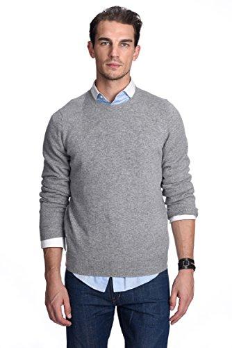 STATE CASHMERE langärmliger Pullover aus 100% reinem Kaschmir für Herren mit Rundhalsausschnitt Grau Meliert
