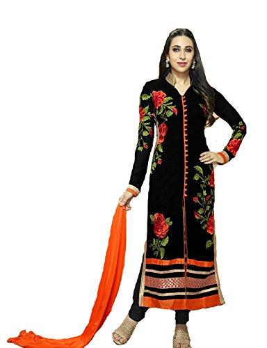 FebForrest Women\'S Black Georgette Attractive Indo-Western Dress Materials/Salwar Suit (Free Size) [JCN 1009 (FF_A)_Black]
