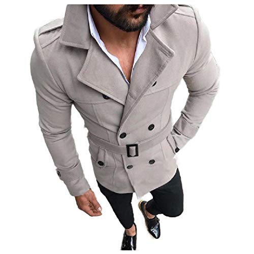 CuteRose Men with Belt Mid-Long British Style Trench Double Breasted Worsted Coat Grey S Black Double-breasted Peacoat