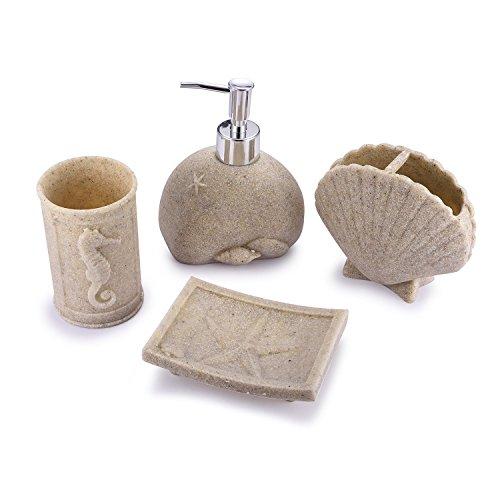 syndecho 4piezas resina accesorios de baño Set–Plato para jabón, vaso, dispensador de dientes, caja de regalo