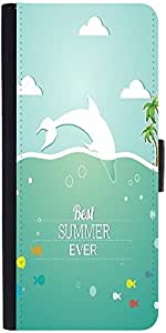 Snoogg Summer Vector Illustration With Fishes Clouds Sun Palm Trees Sea Islan...