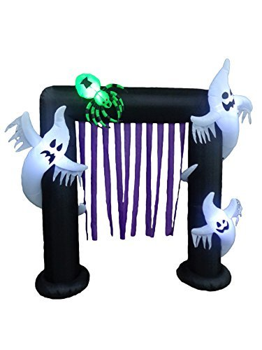 (BZB Goods 8 Foot Illuminated Halloween Inflatable Ghosts and Spider Archway Decoration with Purple Streamers by BZB Goods)