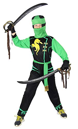 Foxxeo Grünes Drachen Ninja Kostüm für Jungen schwarzes Ninjakostüm Kinderkostüm Größe 110-116