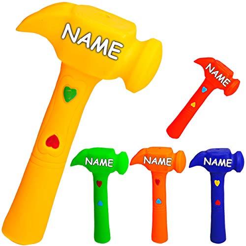 alles-meine.de GmbH Gummihammer / Softhammer / Hammer - Quietscher -  Farb-Mix  - inkl. Name - BPA frei ! - Quietschtier - Spielzeughammer weicher Gummi Babyhammer / Kinderhamm..
