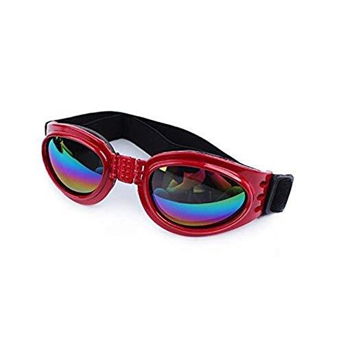 Ndier Pet Schutzbrillen Hundesonnenbrillen Bunte UV Brillen Schutz mit verstellbarem Gurt für Hunde Red Heimtierbedarf