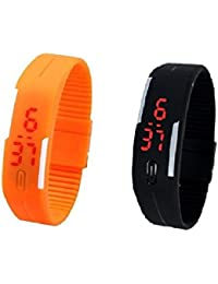 RTimes Black and Orange Unisex Multicolor Set of 2 Digital Rubber Jelly Slim Silicone Sports Led Smart Band Watch for Boys, Girls, Men, Women, Kids