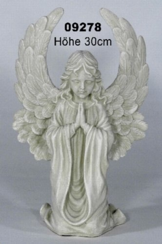 floristikvergleich.de Casa Collection 09278 Engel mit großen Flügeln, klein, kniend, betend, 30 cm, antikweiß
