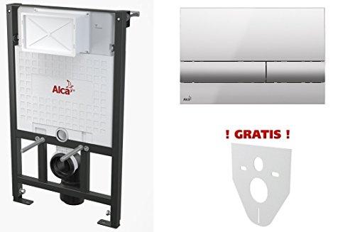 WC Vorwandelement für Trockenbau 120 cm inklusive Betätigungsplatte Chrom Glänzend/Matt Unterputzspülkasten Spülkasten Wand WC hängend Schallschutz