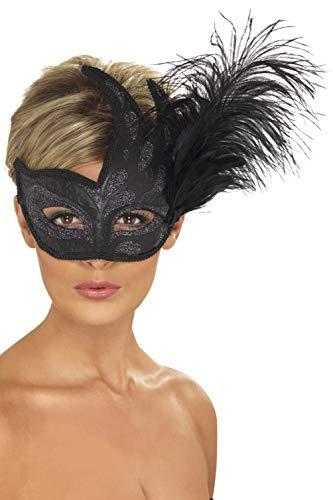 Smiffys Masque orné de Colombine avec plume, noir