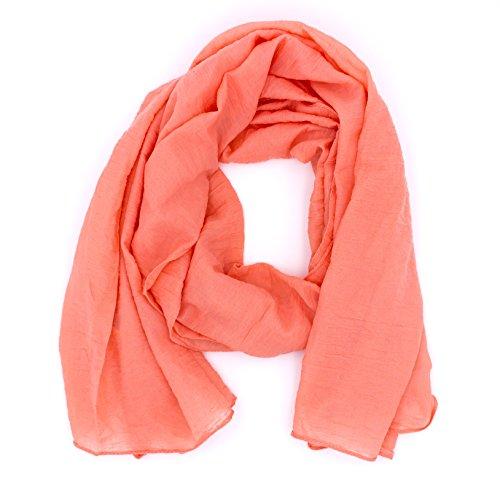 WILD CAT Damen Schal Halstuch Tuch aus Chiffon für Frühling Sommer Ganzjährig (Lachs)