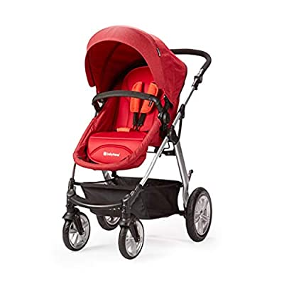 Baby carriage ☝YEC Sun Protection Stroller, Two-way Foldable Large Storage Basket Pram (color : RED)