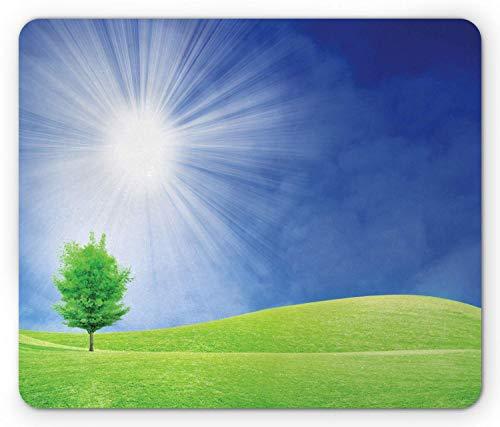 Gras-Mausunterlage, Frühlingslandschaft mit Sonnenstrahlen und einsame Baum-Wiesen-Illustration, Standardgrößen-Rechteck-rutschfestes Gummi-Mousepad, blaues Grün und hellgelb,Gummimatte 11,8