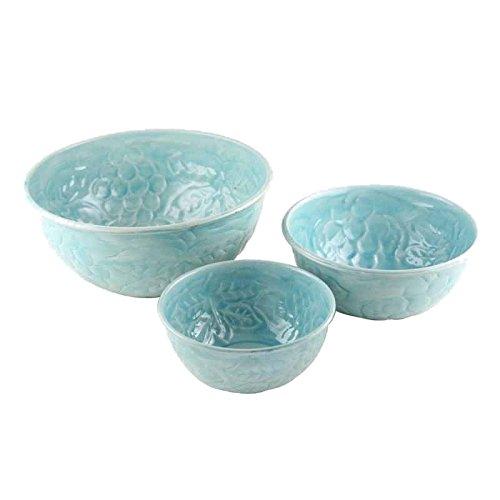Better & Best 2781121-Set di 3ciotole in ferro smaltato, decorati con rilievo di uva - Rilievo Ferro