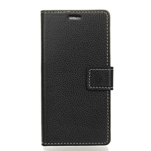 Für Wileyfox Spark X Hülle, Premium PU Leder Schutztasche Klappetui Brieftasche Handyhülle, Standfunktion Flip Wallet Case Cover - Schwarz