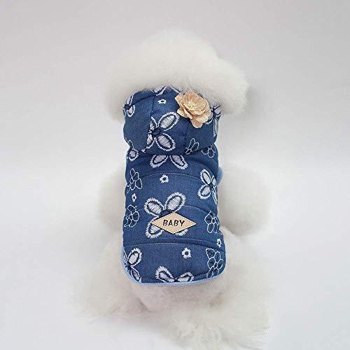 Dark Lady Kostüm Womens - Party Haustier Kostüm Herbst und Winter neue Hundebekleidung Heimtierbedarf Teddy Schnauzer Lady Jeansjacke (Farbe: Dunkelblau, Größe: L) Pet Uniform (Farbe : Dark blue, Größe : L)