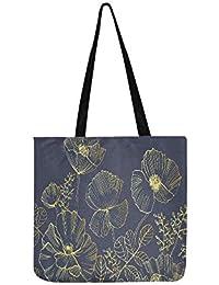 Elegante fondo cuadrado natural con amapolas flores lienzo bolso de mano bolso bandolera bolso bolso de