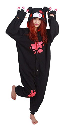 sex Jumpsuit Tier Cartoon Fasching Halloween Pyjama Kostüm Onesie Fleece-Overall Schlafanzug Schwarz Gloomy-Bear Large ()