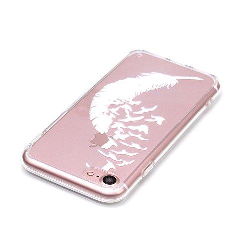 iPhone 7 Hülle, E-Lush Beliebte Traumfänger Muster für Apple iPhone 7 7S (4.7 zoll) Telefonkasten TPU Silikon Rand Acryl Rückseite Abdeckung Handyhülle Clear Transparent Schutzhülle Weiche Flexibel Ha Weiß Feder