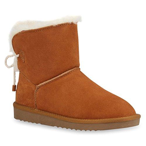 Warm Gefütterte Damen Stiefeletten Kunstfell Boots Hellbraun
