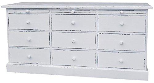 Casa Padrino Landhausstil Kommode mit 6 Schubladen - Büromöbel im Landhausstil, Farbe:antik weiß