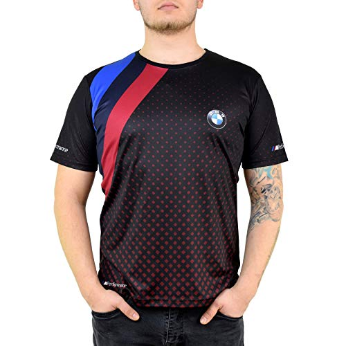 BMW Black Red Points T Shirt for Men Men's Performance Apparel with Moisture Wicking Fabric M Power Suitable for All Kinds of Sport (L)