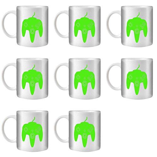 STUFF4 Tasse de Café/Thé 350ml/8 Pack Vert/N64/Céramique Blanche/ST10