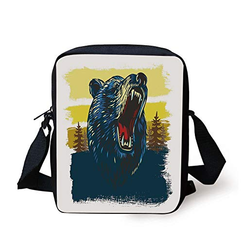 ZKHTO Cabin Decor,Angry Bear Head with Forest Backdrop Aggressive Expression Brush Strokes,Yellow Blue Red Print Kids Crossbody Messenger Bag Purse -
