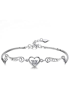 J.SHINE Schmuck Damen Armband Set Engelsflügel Herz Basic 925 Sterling Silber Zirkonia mit Etui, 2 Farben