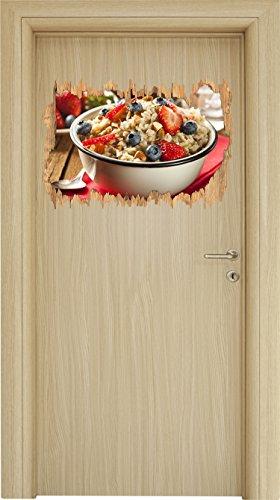 Gesundes Beeren Müsli Holzdurchbruch im 3D-Look , Wand- oder Türaufkleber Format: 62x42cm, Wandsticker, Wandtattoo, Wanddekoration (Faser Müsli)