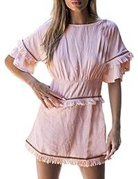 H-fragra Womens Carré Col Caraco Manches Courtes O-Cou Tassel Mini Robe De Mode  Robe Solide Décontractée… e4abc33f1d43