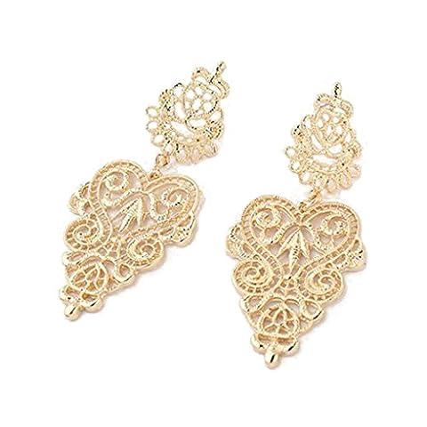 LUFA Für Frauen und Damen Bohemian aushöhlen Legierungs-Herz-Blumen-Ohrringe baumeln Bolzen-Ohrringe