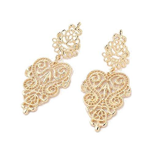 LUFA Für Frauen und Damen Bohemian aushöhlen Legierungs-Herz-Blumen-Ohrringe baumeln Bolzen-Ohrringe Gold&6.5*2.8cm