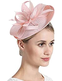b73f6653 Women Elegant Fascinator Hat Bridal Feather Hair Clip Accessories Cocktail  Royal Ascot