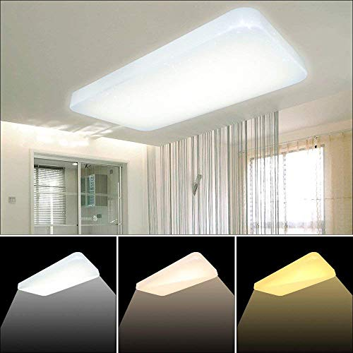 VGO 60W plafón rectangular cambio de color LED con efecto cielo estrellado Lámpara de techo Moderna para el baño [Clase de eficiencia energética A ++]