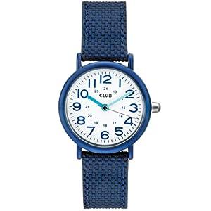 Club Jungen Armbanduhr Kinder Uhr Quarz Analog Kunststoffband mit Leder unterfüttert Blau Nickelfrei A56536BL0A