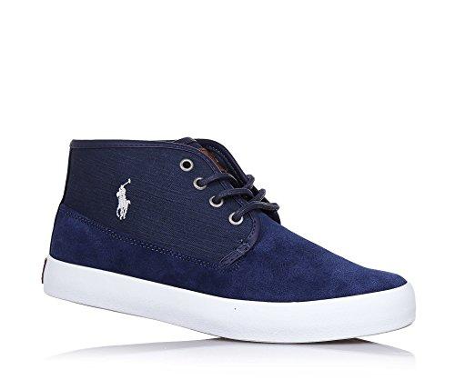 POLO RALPH LAUREN - Chaussure à lacets bleue, en suède, avec logo latéral blanc, ourlet supérieur en cuir, coutures visibles et semelle en caoutchouc, garçon, garçons