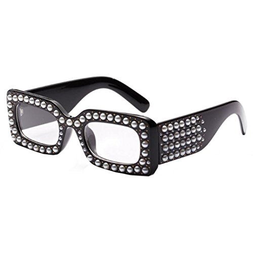 Mamum Damenmode Perle Schattierungen Quadrat Sonnenbrille Frauen, Art und Weise Frauen Perle Rahmen quadratische Rahmen-Sonnenbrille-Schatten integrierte UV-Verglasung one Size Mehrfarben