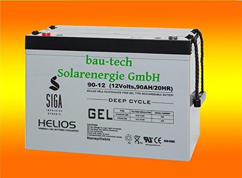 Solarbatterie 90Ah 12V Helios Blei GEL -Deep Cycle- Akku von bau-tech Solarenergie GmbH