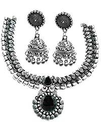 Kaizer Jewelry Antique Oxidized German Silver Jewellery Necklace Set With Jhumki For Women Girls
